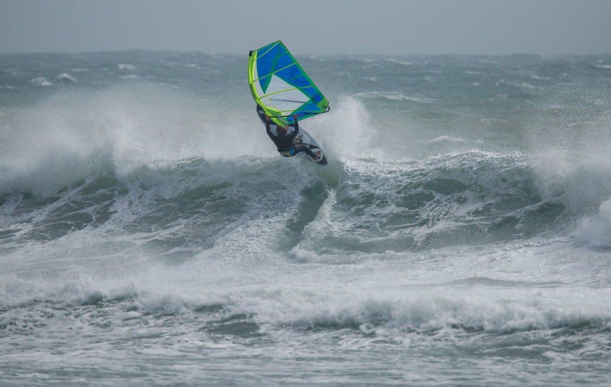 Tom Soltysiak windsurfing on his Sailworks Gyro in Morocco.