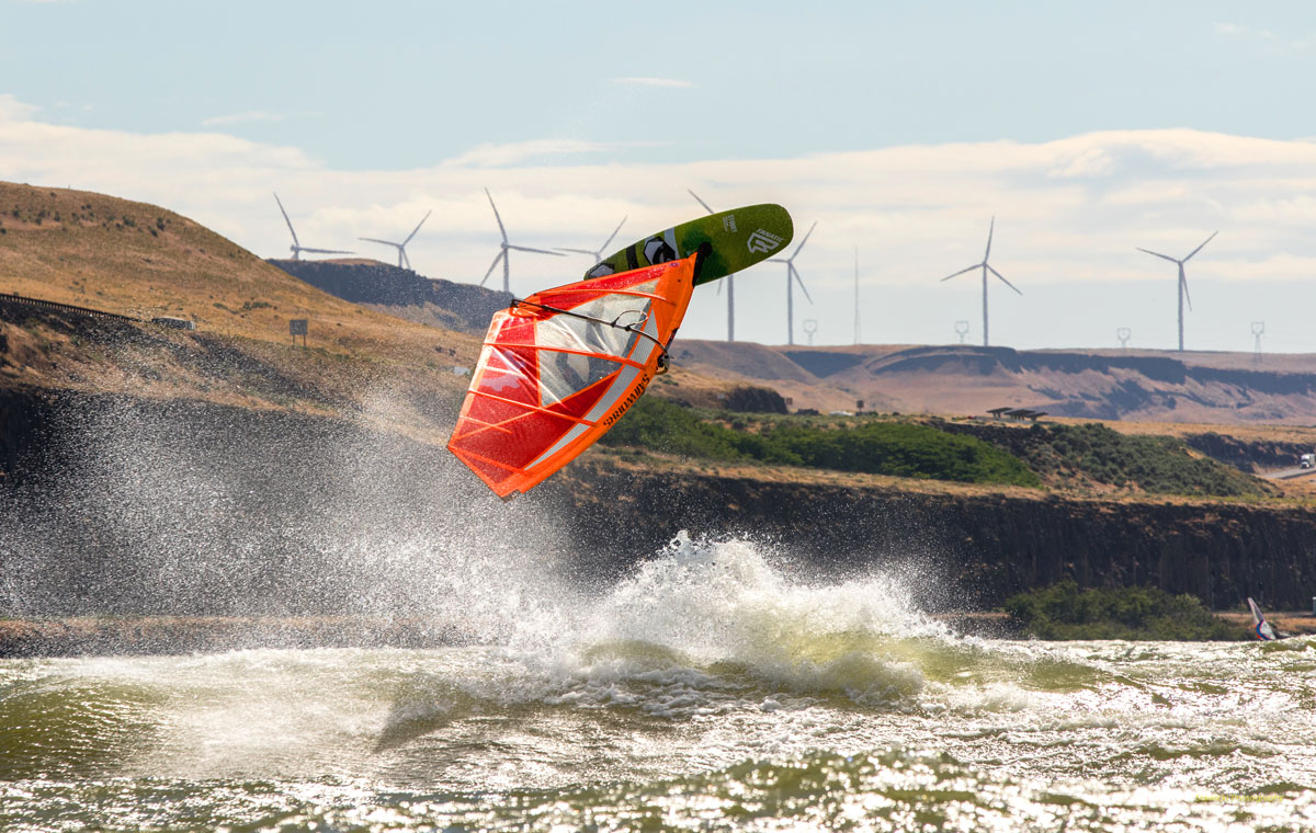 Mike Van Sisseren windsurfing on his Sailworks Gyro at Arlington Port.