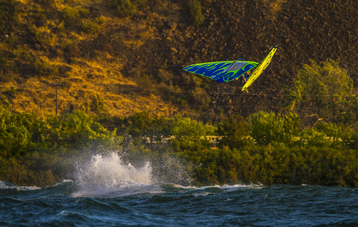 Dale Cook jumping in the Columbia River Gorge on the Sailworks Hucker windsurfing sail