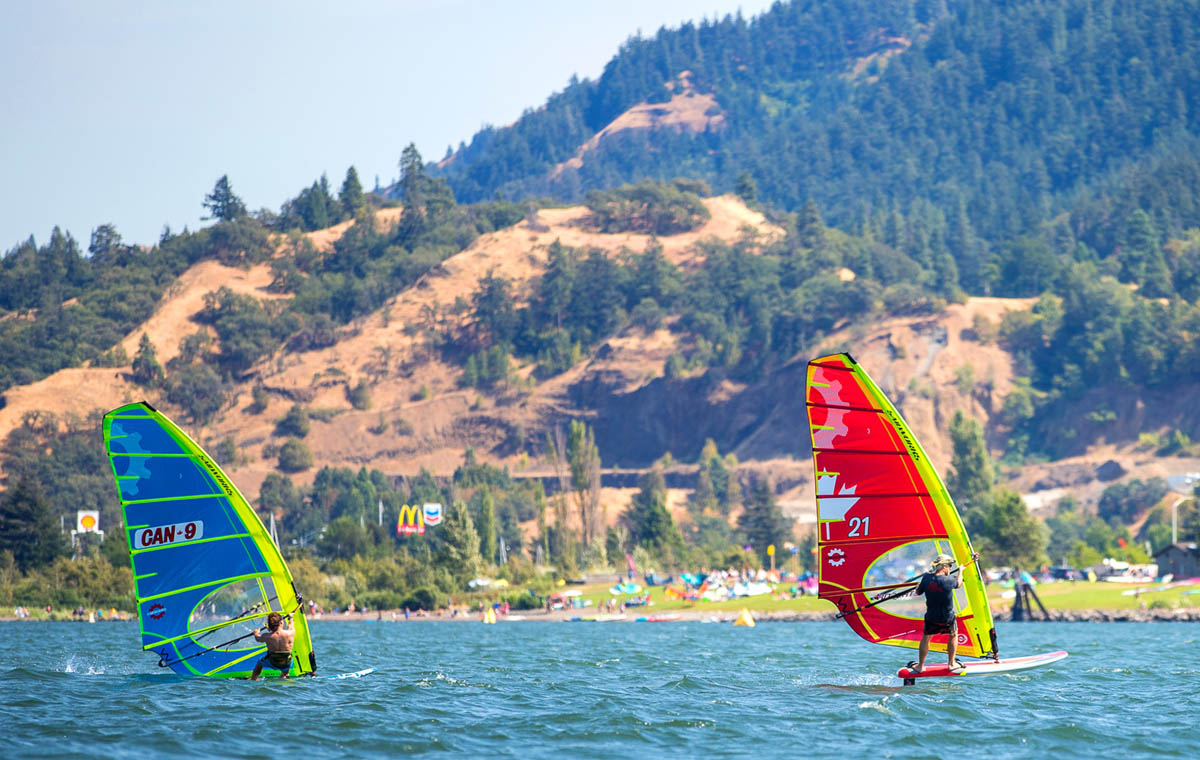 Bruce Peterson and Phil Soltysiak windsurfing on the Sailworks NX slalom windsurfing race sail